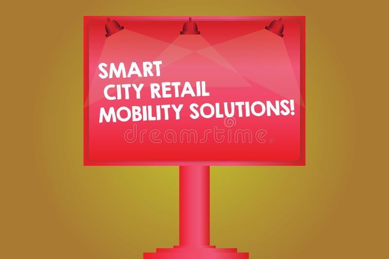 Word writing text Smart City Retail Mobility Solutions. Business concept for Connected technological modern cities Blank. Lamp Lighted Color Signage Outdoor Ads stock illustration