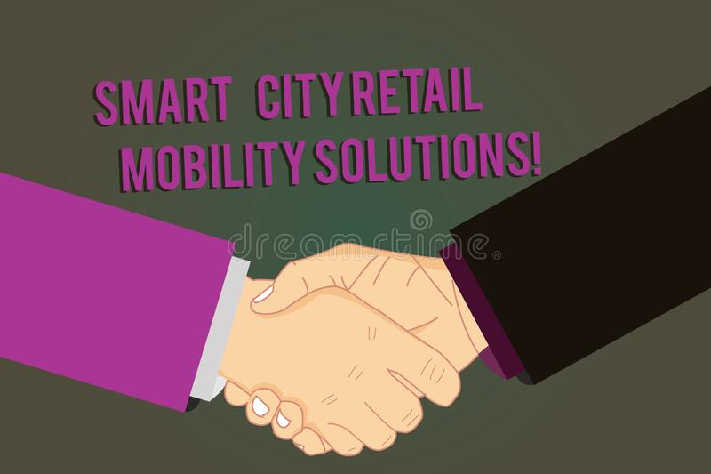 Word writing text Smart City Retail Mobility Solutions. Business concept for Connected technological modern cities Hu. Analysis Shaking Hands on Agreement royalty free illustration