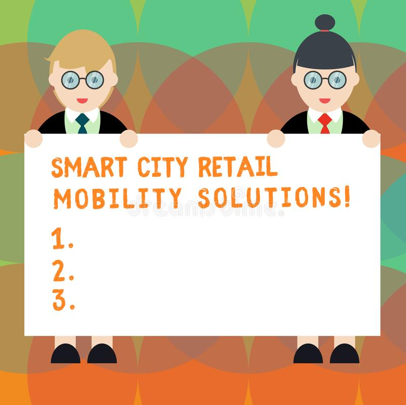Word writing text Smart City Retail Mobility Solutions. Business concept for Connected technological modern cities Male. And Female in Uniform Standing Holding royalty free illustration