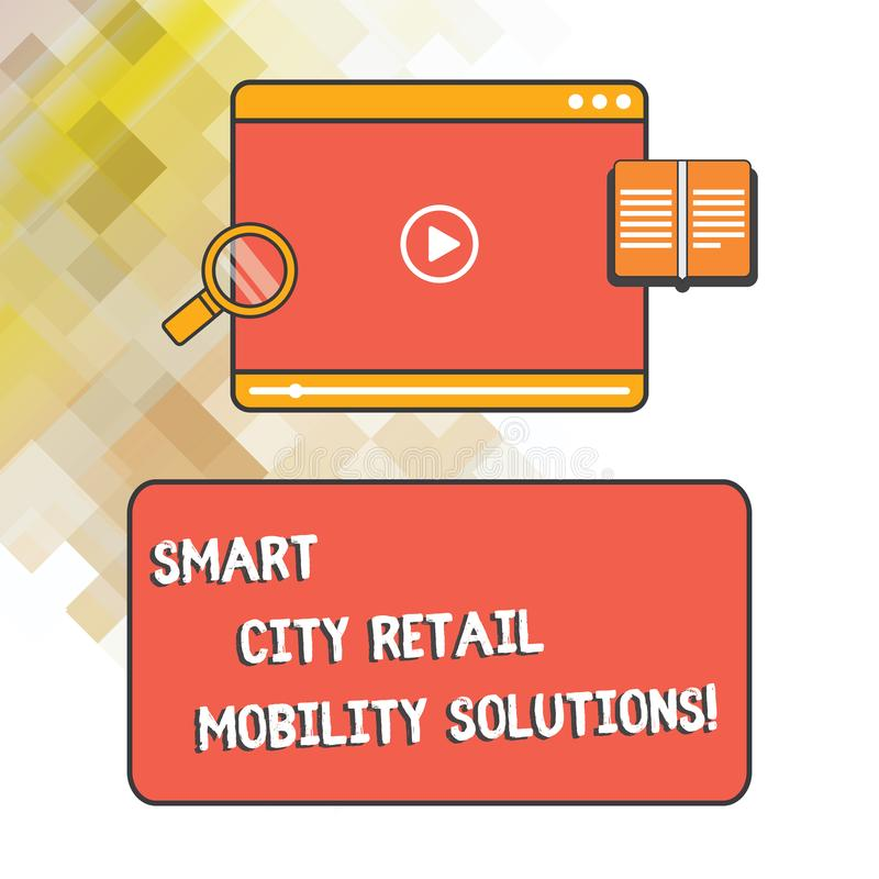 Word writing text Smart City Retail Mobility Solutions. Business concept for Connected technological modern cities Tablet Video. Player Uploading Downloading vector illustration