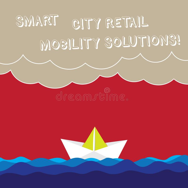 Word writing text Smart City Retail Mobility Solutions. Business concept for Connected technological modern cities Wave Heavy. Clouds and Paper Boat Seascape stock illustration