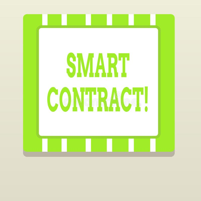 Word writing text Smart Contract. Business concept for the computer protocol running on top of a block chain. Word writing text Smart Contract. Business photo stock illustration