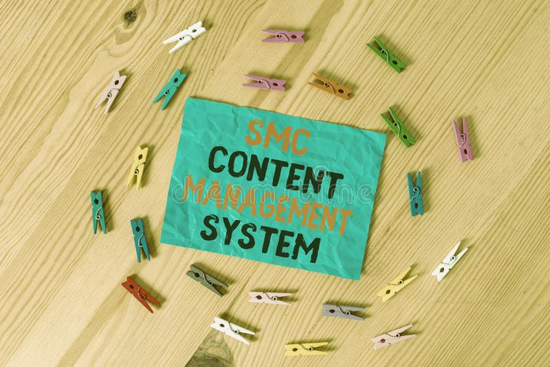 Word writing text Smc Content Management System. Business concept for analysisgae creation and modification of posts. Word writing text Smc Content Management stock photos