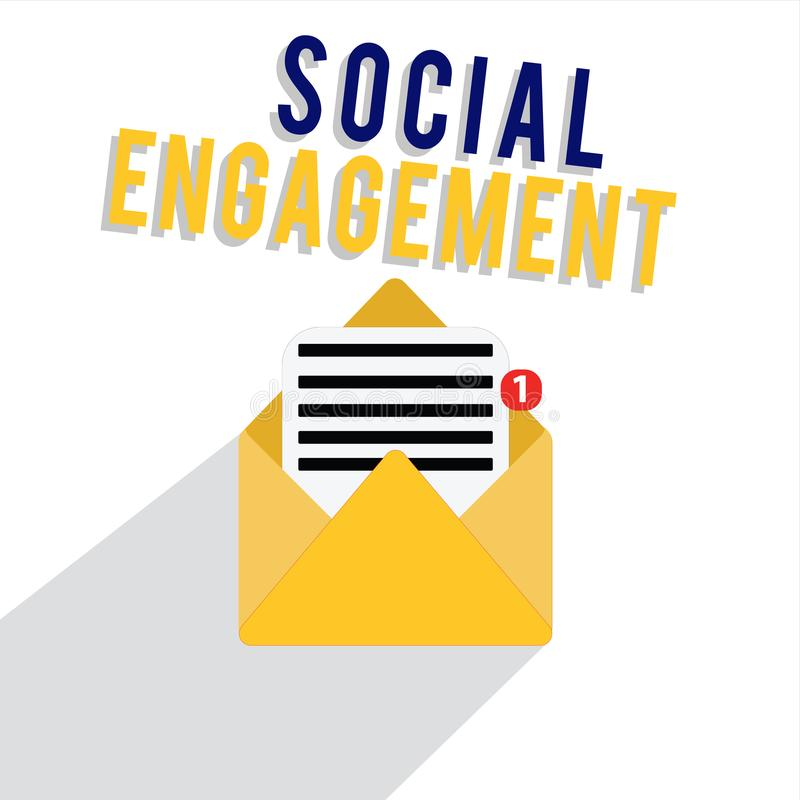 Word writing text Social Engagement. Business concept for Degree of engagement in an online community or society royalty free illustration
