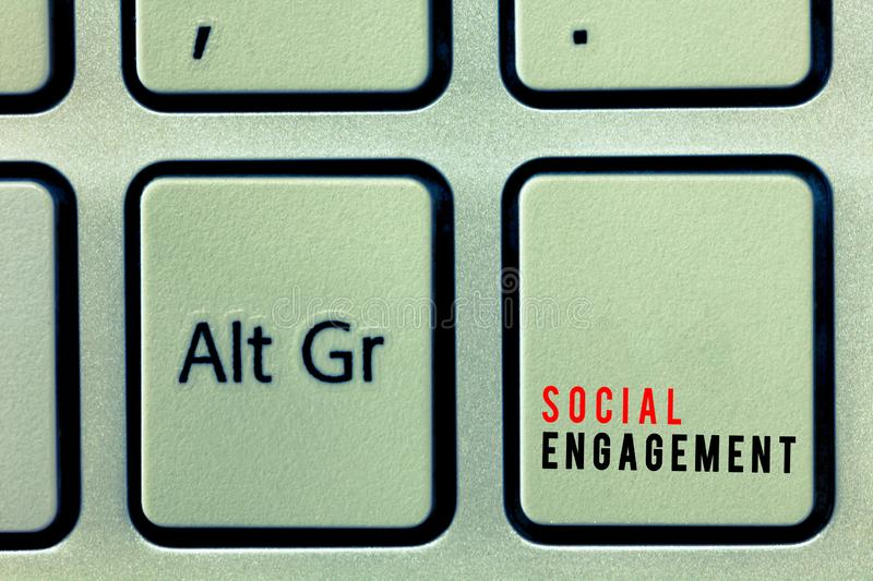 Word writing text Social Engagement. Business concept for Degree of engagement in an online community or society.  stock image