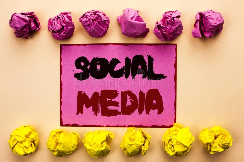 Word writing text Social Media. Business concept for Communication Chat Online Messaging Share Community Societal written on Pink. Word writing text Social Media royalty free stock photography