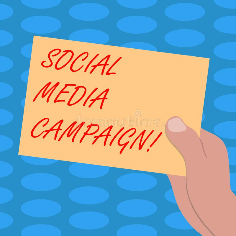 Word writing text Social Media Campaign. Business concept for Use of social networks to promote brands or services Drawn. Hu analysis Hand Holding Presenting vector illustration