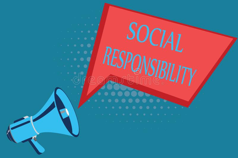 Word writing text Social Responsibility. Business concept for Obligation for the Benefit of Society Balance in life.  royalty free illustration