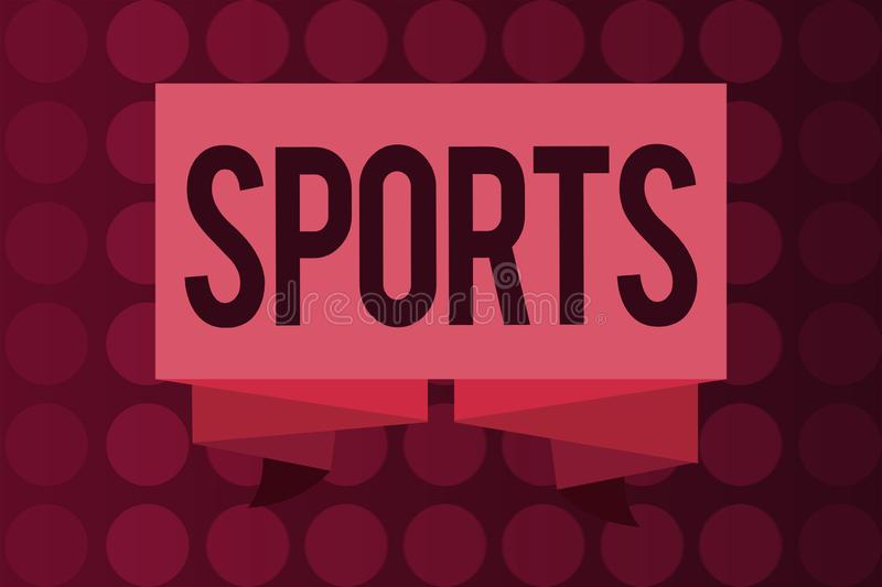 Word writing text Sports. Business concept for activity physical exertion and skill individual or team competes.  vector illustration