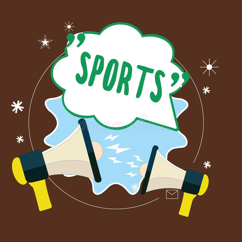 Word writing text Sports. Business concept for activity physical exertion and skill individual or team competes.  royalty free illustration