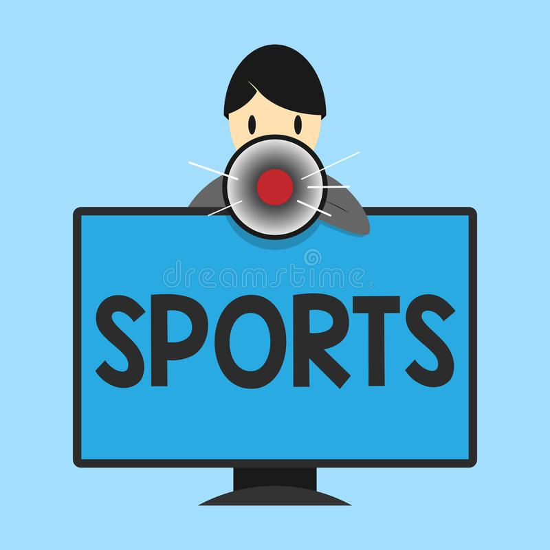 Word writing text Sports. Business concept for activity physical exertion and skill individual or team competes.  stock illustration