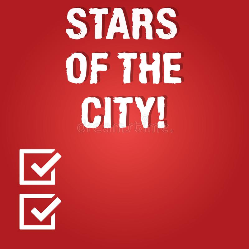 Word writing text Stars Of The City. Business concept for Sparkling night in the cities brilliant illuminated Blank vector illustration