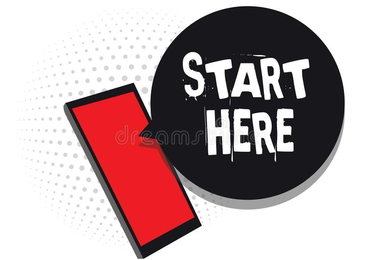 Word writing text Start Here. Business concept for telling someone this is beginning point to go from to destination Cell phone re. Ceiving text messages chats vector illustration