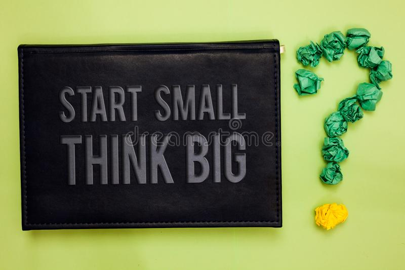 Word writing text Start Small Think Big. Business concept for Initiate with few things have something great in mind Green back bla. Ck plank with text green royalty free stock photography