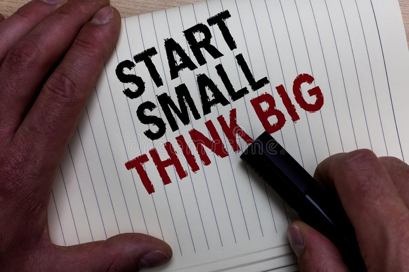 Word writing text Start Small Think Big. Business concept for Initiate with few things have something great in mind Man's hand gr. Asp black marker with some royalty free stock photography