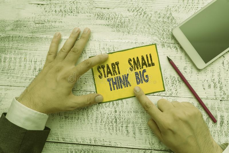 Word writing text Start Small Think Big. Business concept for Initiate with few things have something great in mind. Word writing text Start Small Think Big royalty free stock photography