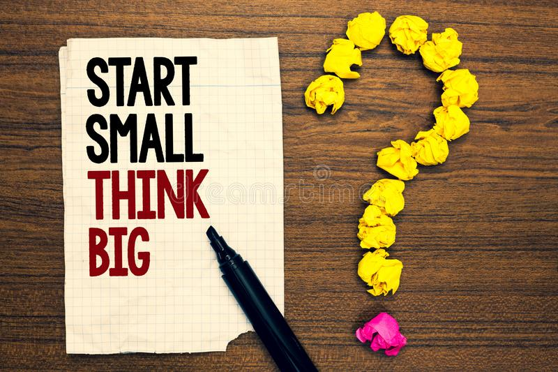 Word writing text Start Small Think Big. Business concept for Initiate with few things have something great in mind Written torn p. Age touch black pen yellow royalty free stock image