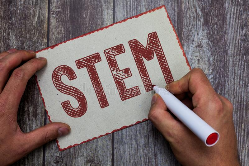 Word writing text Stem. Business concept for Life Sciences Engineering in all aspect Continuous expanding technology stock photography
