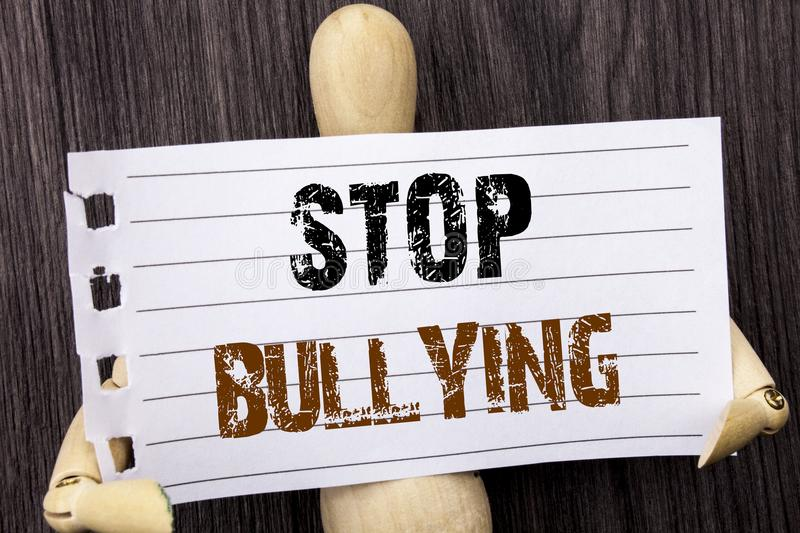 Word, writing, text Stop Bullying. Conceptual photo Awareness Problem About Violence Abuse Bully Problem written on torn paper ho. Word, writing, text Stop royalty free stock photo