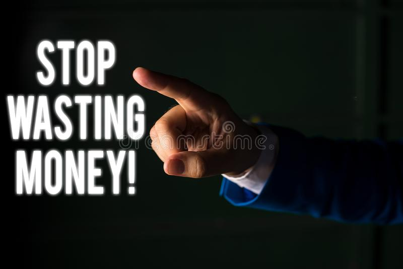 Word writing text Stop Wasting Money. Business concept for advicing demonstrating or group to start saving and use it. Word writing text Stop Wasting Money royalty free stock images