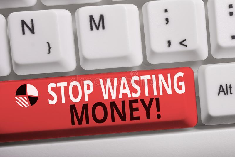 Word writing text Stop Wasting Money. Business concept for advicing demonstrating or group to start saving and use it. Word writing text Stop Wasting Money stock photo