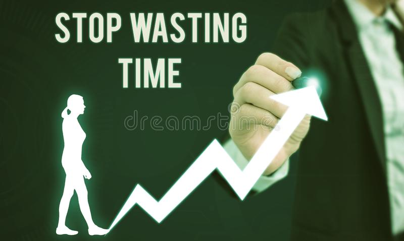 Word writing text Stop Wasting Time. Business concept for advising demonstrating or group start planning and use it. Word writing text Stop Wasting Time royalty free stock photos