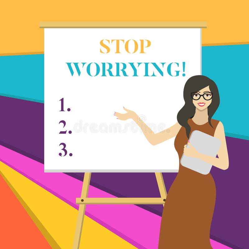 Word writing text Stop Worrying. Business concept for stop thinking about something bad that happened in the past White royalty free illustration