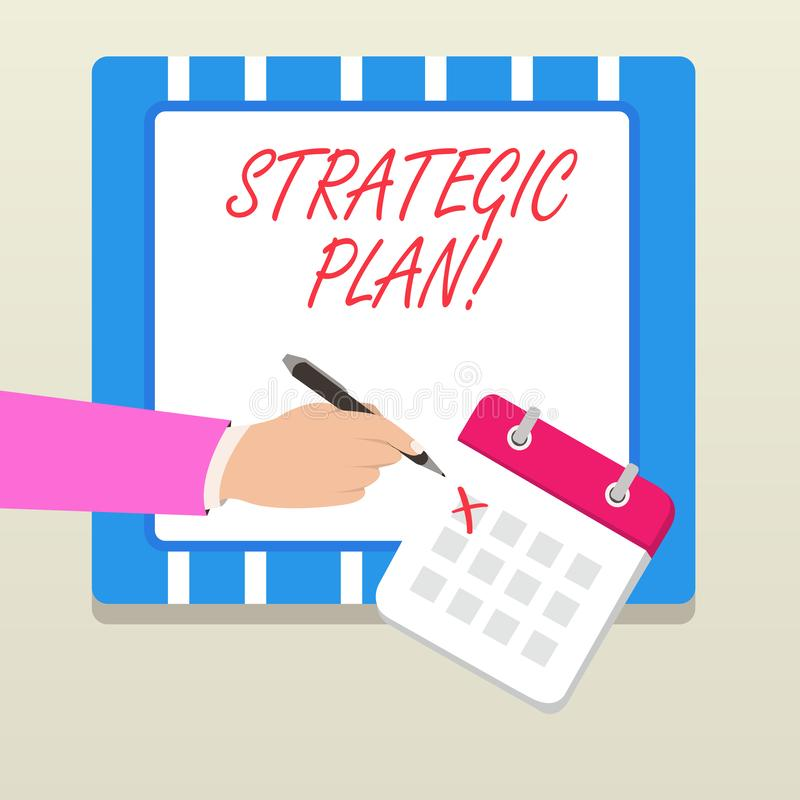 Word writing text Strategic Plan. Business concept for analysisagement activity that is used to set and focus priorities. Word writing text Strategic Plan stock illustration