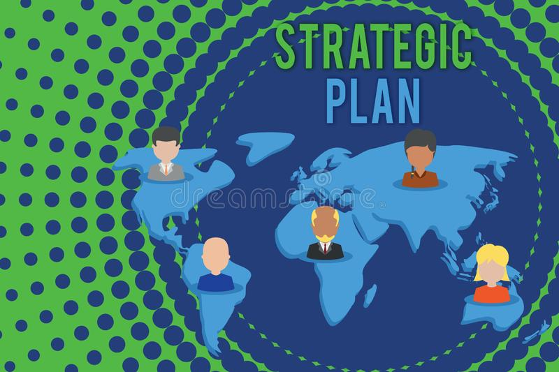 Word writing text Strategic Plan. Business concept for a systematic process of envisioning a desired future Connection. Word writing text Strategic Plan vector illustration