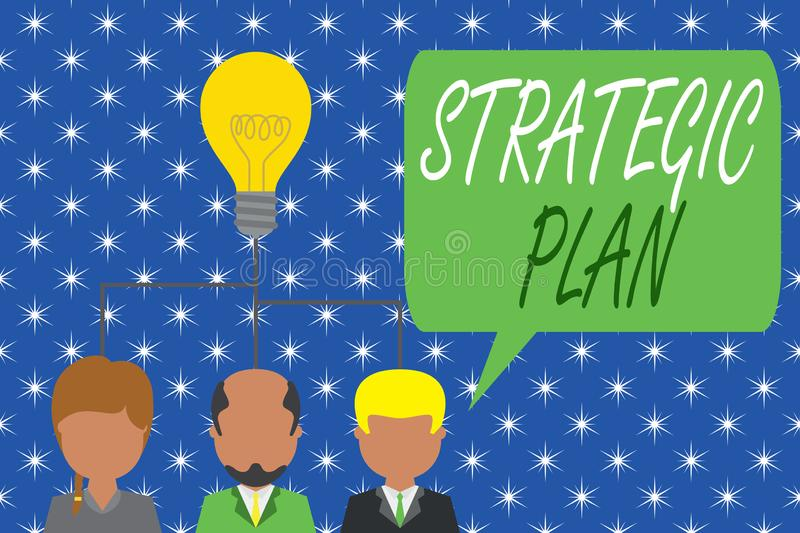 Word writing text Strategic Plan. Business concept for a systematic process of envisioning a desired future Group three. Word writing text Strategic Plan royalty free illustration