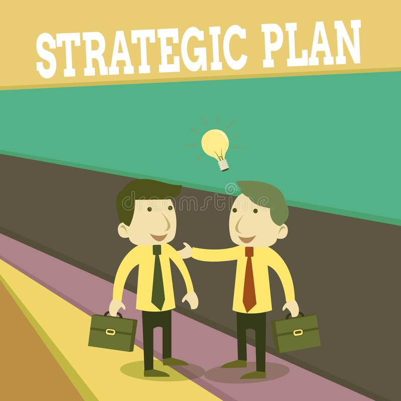 Word writing text Strategic Plan. Business concept for a systematic process of envisioning a desired future Two White. Word writing text Strategic Plan. Business vector illustration