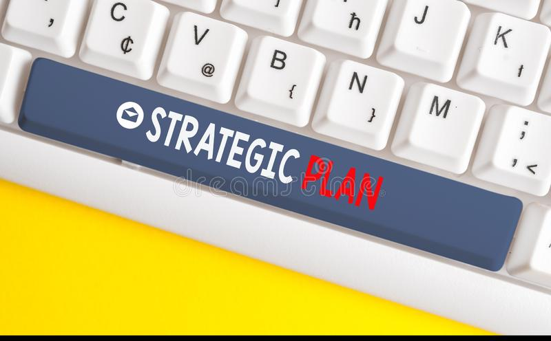 Word writing text Strategic Plan. Business concept for a systematic process of envisioning a desired future White pc. Word writing text Strategic Plan. Business royalty free stock photos