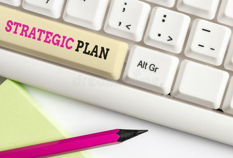 Word writing text Strategic Plan. Business concept for a systematic process of envisioning a desired future White pc. Word writing text Strategic Plan. Business royalty free stock images