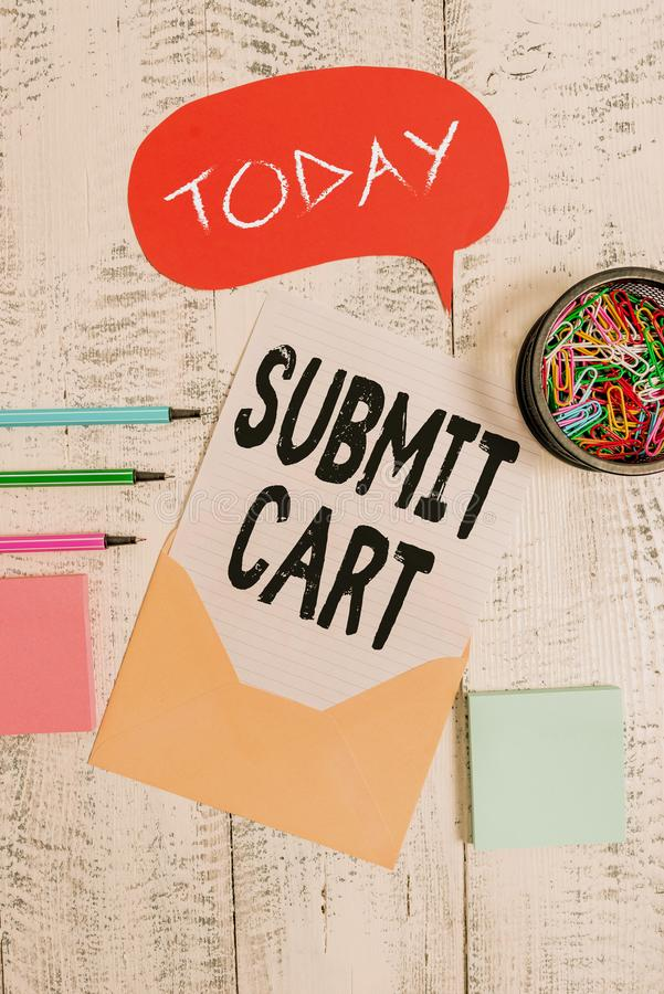 Word writing text Submit Cart. Business concept for Sending shopping list of online items Proceed checkout Envelop. Word writing text Submit Cart. Business photo royalty free stock photo