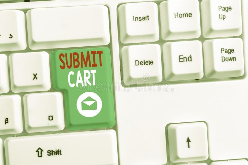 Word writing text Submit Cart. Business concept for Sending shopping list of online items Proceed checkout White pc. Word writing text Submit Cart. Business stock photo