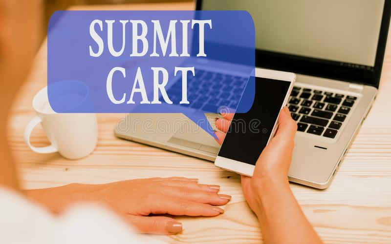 Word writing text Submit Cart. Business concept for Sending shopping list of online items Proceed checkout woman laptop. Word writing text Submit Cart. Business royalty free stock images