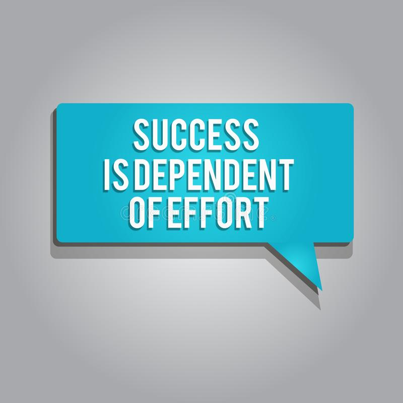 Word writing text Success Is Dependent Of Effort. Business concept for Make effort to Succeed Stay Persistent vector illustration
