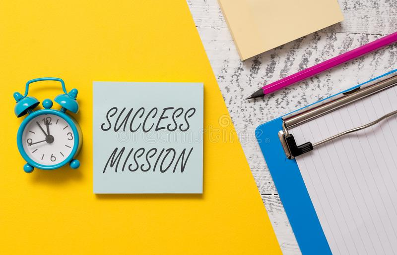 Word writing text Success Mission. Business concept for getting job done in perfect way with no mistakes Task made. Word writing text Success Mission. Business royalty free stock photography