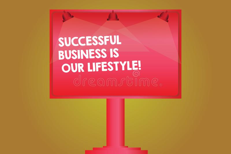 Word writing text Successful Business Is Our Lifestyle. Business concept for Used to work in quality company Blank Lamp Lighted. Color Signage Outdoor Ads photo vector illustration