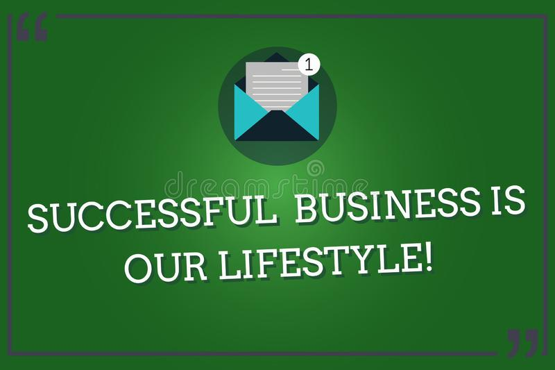 Word writing text Successful Business Is Our Lifestyle. Business concept for Used to work in quality company Open Envelope with. Paper New Email Message inside royalty free illustration