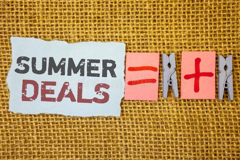 Word writing text Summer Deals. Business concept for Special Sales Offers for Vacation Holiday Trips Price Discounts. Words writing textss Summer Deals. Business royalty free stock photos