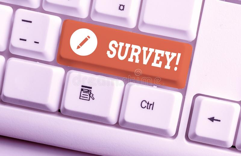 Word writing text Survey. Business concept for research method used for collecting data from a predefined group White pc. Word writing text Survey. Business stock photo
