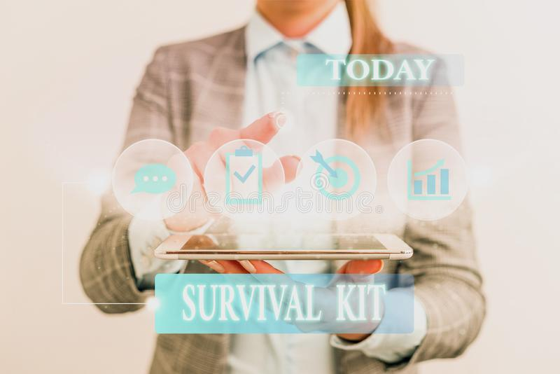 Word writing text Survival Kit. Business concept for Emergency Equipment Collection of items to help someone Female. Word writing text Survival Kit. Business royalty free stock image