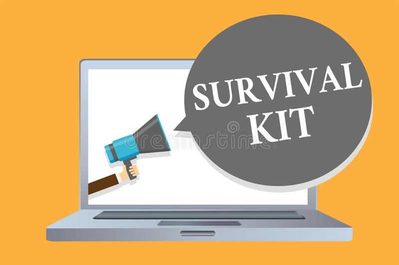 Word writing text Survival Kit. Business concept for Emergency Equipment Collection of items to help someone Man holding megaphone royalty free illustration