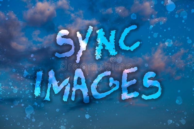 Word writing text Sync Images. Business concept for Making photos identical in all devices Accessible anywhere Cloudy bright blue. Sky sunset landscape relaxing royalty free stock images