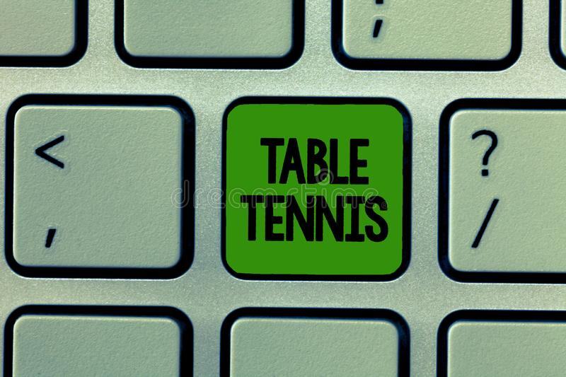 Word writing text Table Tennis. Business concept for Indoor game played with small bats and a ball bounced stock image