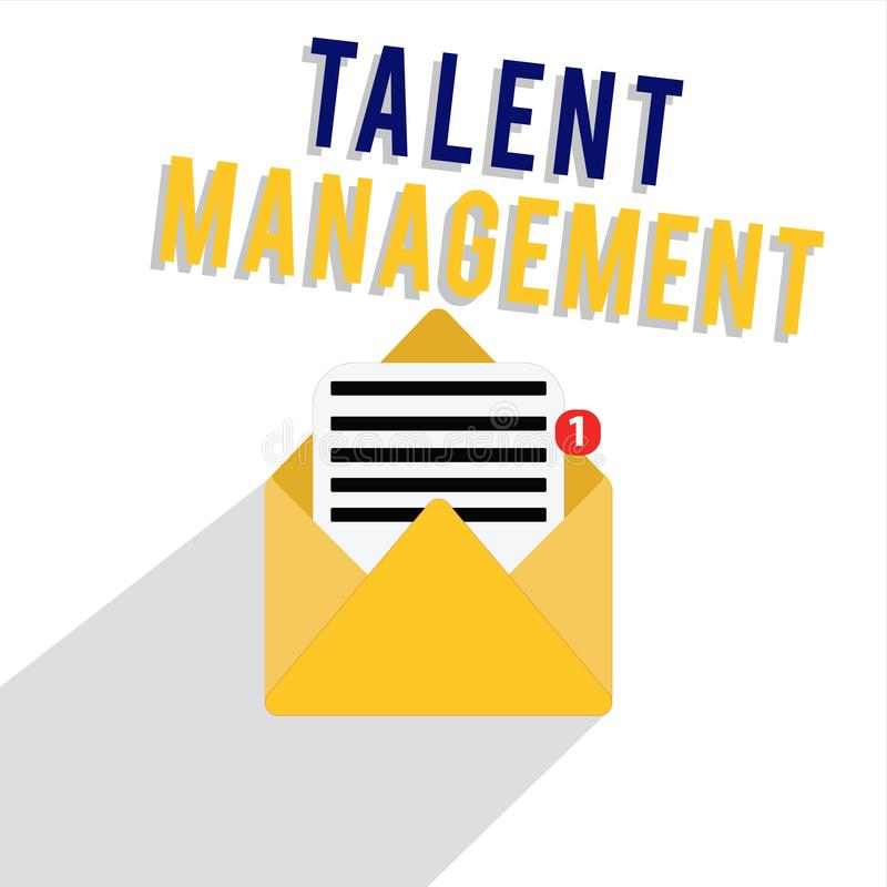 Word writing text Talent Management. Business concept for Acquiring hiring and retaining talented employees.  vector illustration