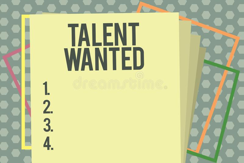 Word writing text Talent Wanted. Business concept for Hiring for specific skills Need of job position Vacancy.  royalty free illustration