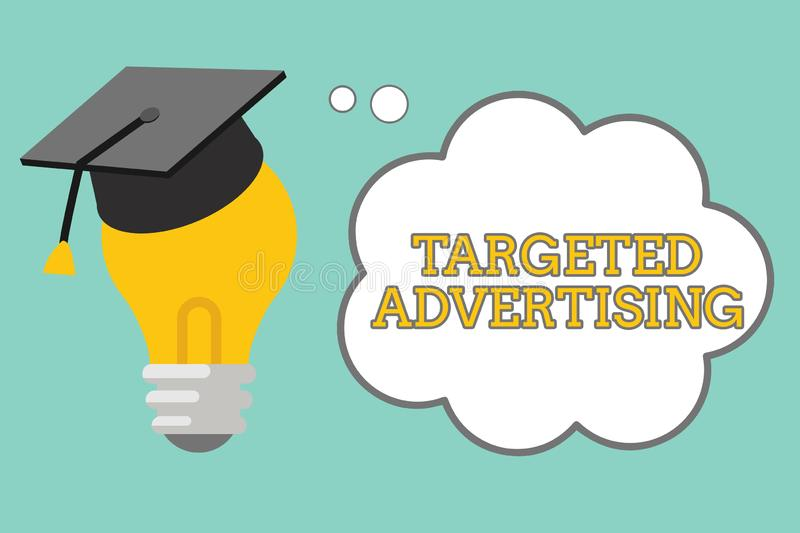 Word writing text Targeted Advertising. Business concept for Online Advertisement Ads based on consumer activity.  stock illustration