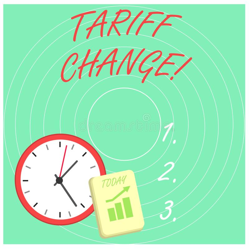 Word writing text Tariff Change. Business concept for Changes on tax imposed on imported goods and services Layout Wall. Word writing text Tariff Change stock illustration